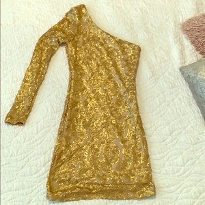 Guess gold one shoulder dress